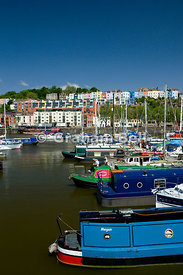 marina and colouful houses, floating harbour, bristol, england.