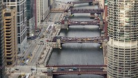 Bird's Eye: Medium Shot Looking Down the Chicago River Canyon During A Gusty Day