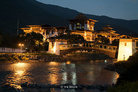 "The Punakha Dzong at night. It's also known as Pungtang Dechen Photrang Dzong (meaning ""the palace of great happiness or bliss"") in Punakha, Bhutan. .The Dzong is located at the confluence of the Pho Chhu (father) and Mo Chhu (mother) rivers in the Punakha–Wangdue valley."