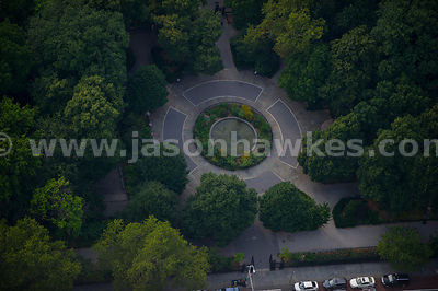 Close up aerial view of a fountain in Stuyvesant Square, New York City