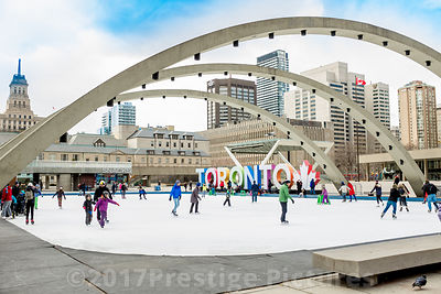Ice Skating in Nathan Phillips Square in Toronto