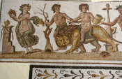 Museum of El-Jem, mosaic, Dionysus riding a lion, 2nd century, El-Jem (Thydrus), Tunisia