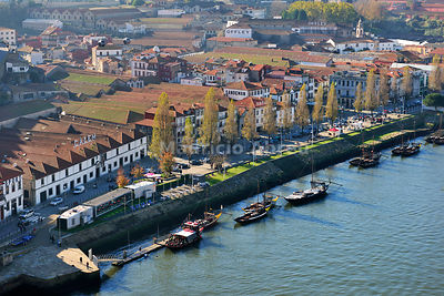 Port wine cellars in Vila Nova de Gaia, by the Douro river. Oporto, Portugal
