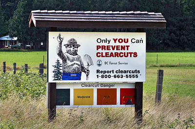 "Parody of a BC Forest Service sign featuring Smokey the Bear reads ""Only You Can Prevent Clearcuts"". Created using Adobe Photoshop."