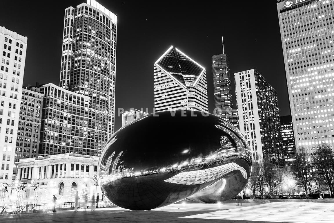 Image Pritzker Pavilion Chicago Skyline Black And White Photo