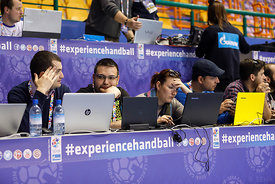 Journalists during the Final Tournament - Final Four - SEHA - Gazprom league, Vardar - PPD Zagreb in Brest, Belarus, 07.04.2017, Mandatory Credit ©SEHA/ Stanko Gruden