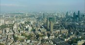 London Aerial Footage of Clerkenwell towards City of London Skyline.