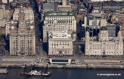 "aerial photograph of the "" Three Graces ""  Pier Head Liverpool"