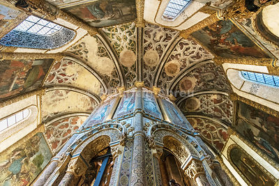 The Charola, with its origin in the 12th century, was the Templar Knight's oratorium within the Convent of Christ. a UNESCO World Heritage Site. Tomar, Portugal