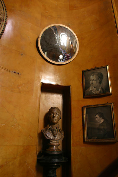 Detail of a bust and paintings at the Sir John Soanes Museum, London