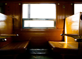 Wooden seats in a train