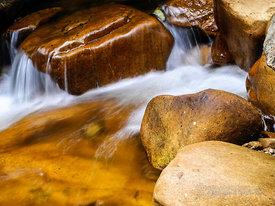 River Rocks with Soft Flowing Water