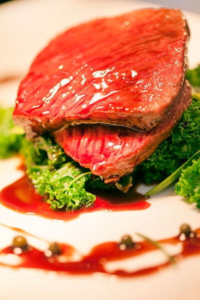 UK - Berkshire - A dish of Muntjac deer at the Potkiln, an award winning pub and restaurant owned by chef and restauranteur, Mike Robinson