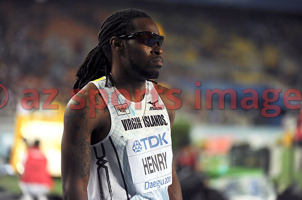 Tabarie Henry (ISV) getting ready for the men's 400 metres final