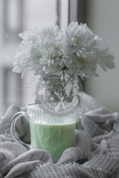 Matcha Latte and flowers