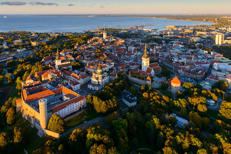 Aerial view of Tallinn Old Town, Estonia, October 2013.
