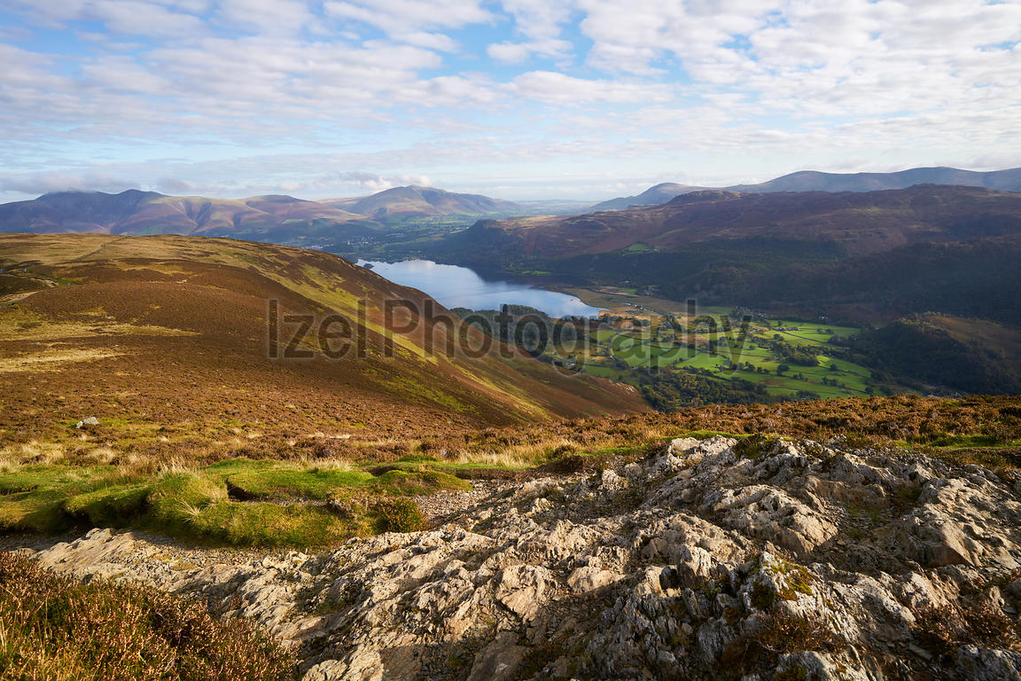 Views of Derwent Water and Borrowdale from the summit of Maiden Moor in the Lake District, England, UK.