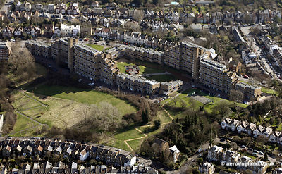 aerial photograph of Dawson's Heights in Dulwich London England UK showing Bredinghurst/Overhill Rd, London SE22 0PN  ,Dunstans Road  and  Dawson's Hill.Dunstans Rd,