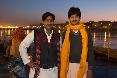 Portrait of two men along the Ganges River at sunset, 2013 Kumbh Mela, Allahabad, India.