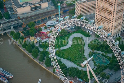 Aerial view of the London Eye and Jubilee Gardens, London