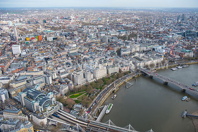 Aerial view of London, River Thames with Victoria Embankment Gardens towards Covent Garden Piazza.