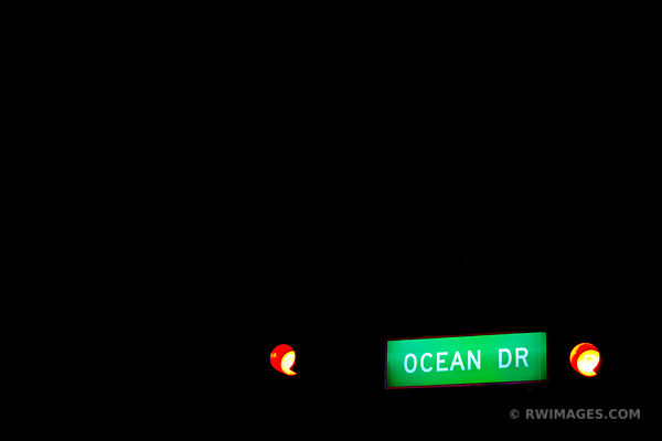 OCEAN DRIVE SIGN MIAMI BEACH FLORIDA NIGHT