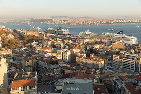 From the Galata Tower looking at Beyoğlu district in Istanbul.
