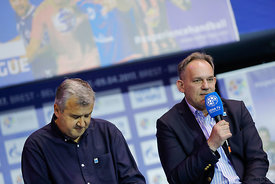 Bozidar Djurkovic and Sinisa Ostoic during the Final Tournament - Final Four - SEHA - Gazprom league, Handball discussion in Brest, Belarus, 06.04.2017, Mandatory Credit ©SEHA/ Stanko Gruden