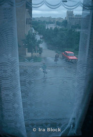 looking at a street through a window in Moscow, Russia