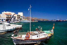 fishing boat moored in harbour aghios nikolaos crete Greece