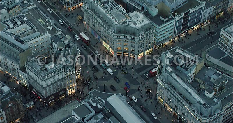 London Aerial Footage of Oxford Street at night.