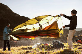 Backpackers drying tent