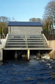 Hydro electric power plant, River Taff, Radyr, Cardiff, Wales.