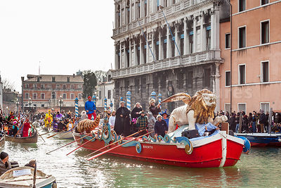Winged Lion on a boat in the Venice Carnival Water Parade on the Rio di Cannaregio Canal