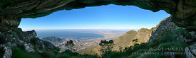 View of Cape Town and Table Bay from a cave on Table Mountain