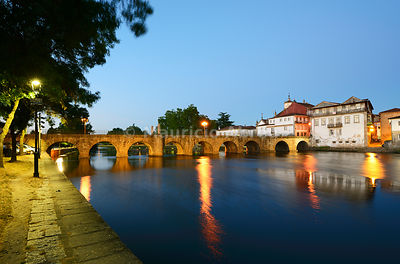 The roman bridge of Chaves, also known as Trajan bridge, dating back to the 1st century AD. Trás-os-Montes, Portugal