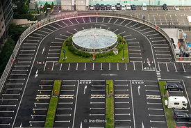 A parking lot looking from Shinagawa Prince Hotel in Tokyo.