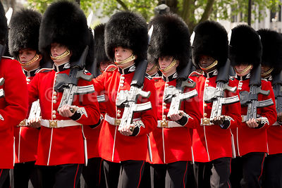 Line of Scots Guards Marching by Westminster Abbey