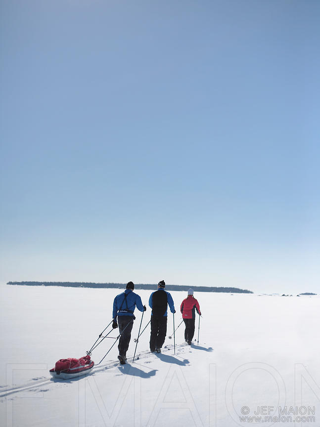 Skiers with sledge on frozen sea