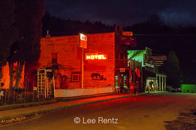 Classic Western Streetscape at Night in Mitchell, Oregon