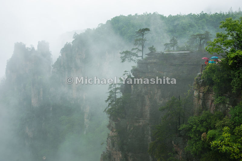 Wulingyuan National Forest Park, China's oldest National Park and World Heritage Site, pics of Tianzi Mountain area in rain and dense fog.