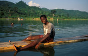 Lake Bosumtwi is a crater lake which is held sacred by the Ashanti.  Only tree trunks called padua are allowed on the lake - paddling is only allowed with hands. Ghana