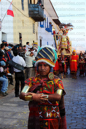 Officials lead the Inca during processions for Inti Raymi festival , Cusco , Peru