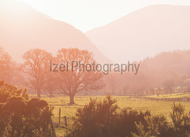 The warm sun of sunrise creeping over the rridge lines of the Derwent Fells and Newlands Beck in the English Lake District, UK.