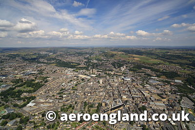 aerial photographs of Halifax  Yorkshire England UK