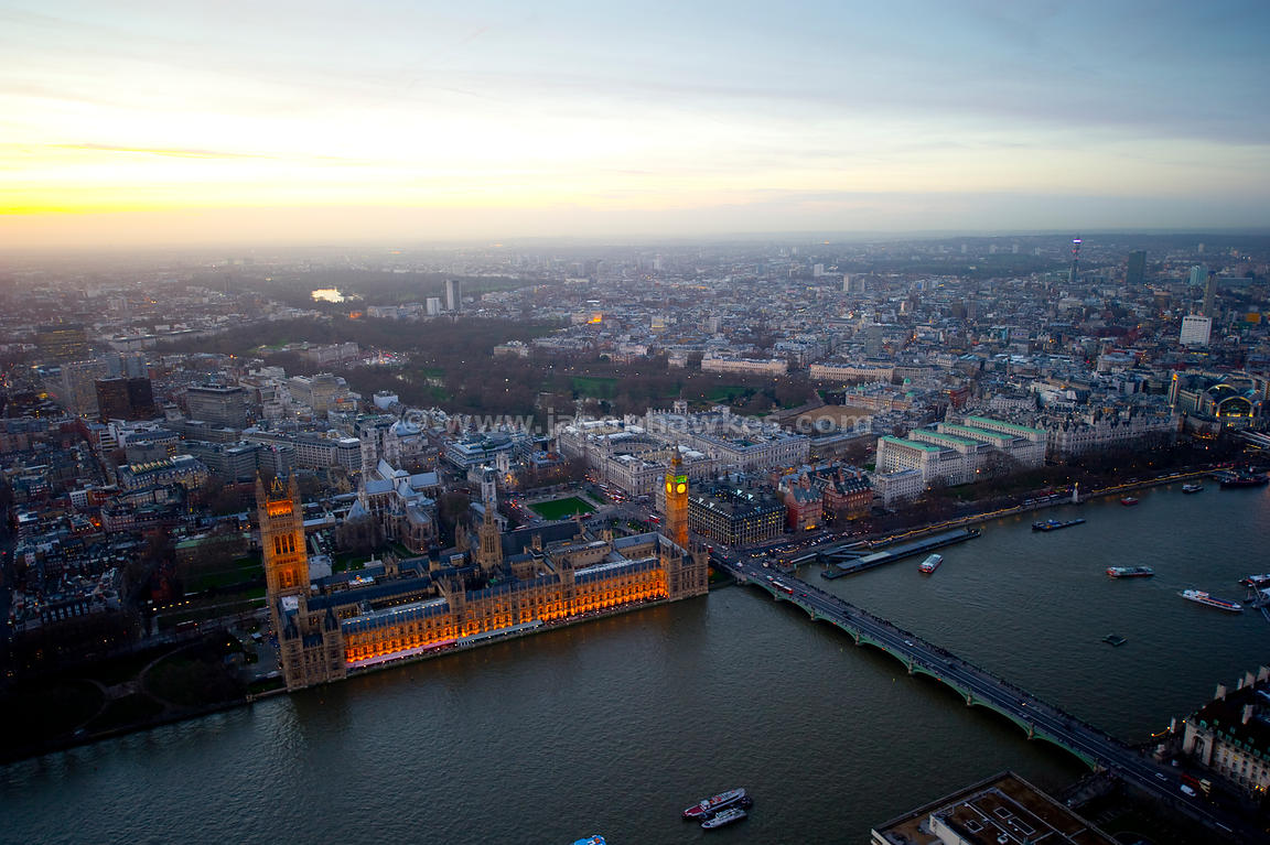 Dusk aerial view of the Houses of Parliament, Westmister, London