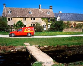 royal mail van, upper slaughter, cotswolds, gloucestershire.