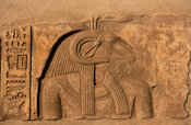 Bas-relief of the god Khnum with ram's head, Ruins of Yebu on Elephantine Island, Aswan, Egypt