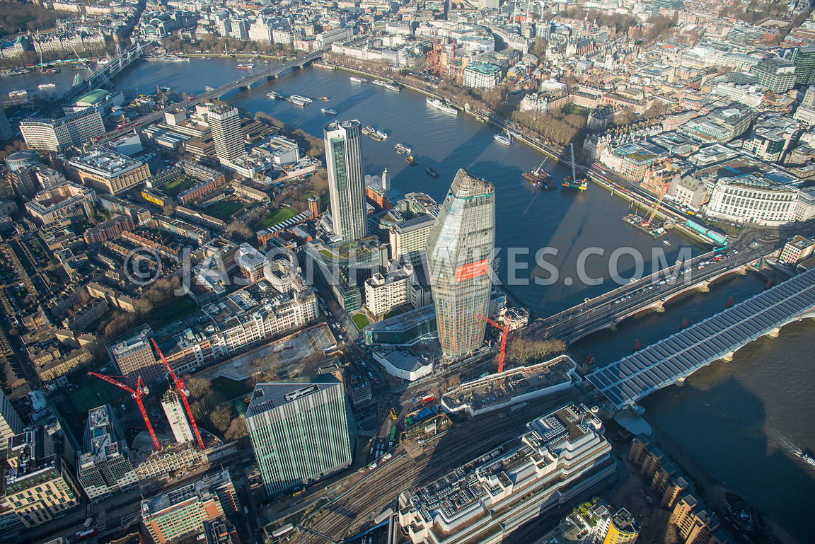 Aerial view of London, Southbank from Blackfriars Bridges towards Waterloo Bridge.