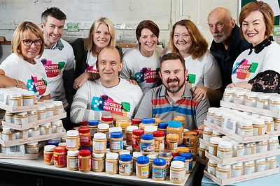 Yorkshire Building Society Charitable Foundation has donated £1,995 to the Bradford Metropolitan Food Bank. A team are also volunteering at the food bank. Peanut butter has been collected also for the food bank..Margaret Taylor, Steve Laverack, Katie Gleghorn, Sue Thompson, Tim Pryke, Kathryn Wenn, Jamie Beaumont, Keith Thompson, Nat Juryta